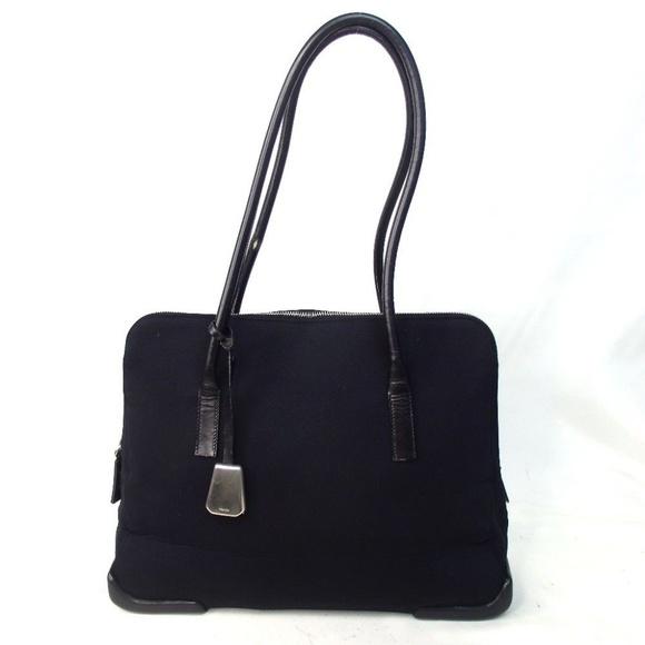 Prada Bags   Vintage Black Nylon Leather Tote Satchel Bag   Poshmark db81707031
